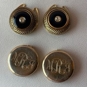 Lot of 2 pairs Vintage Button covers / cufflinks